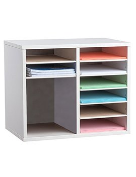 Adir Office Wood Adjustable Literature Organizer (12 Compartment, White) by Adir Office