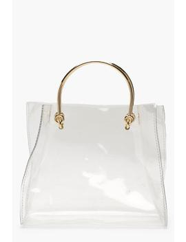 Clear Ring Handle Grab Bag by Boohoo