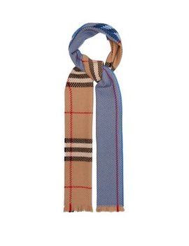 Colour Block Extra Fine Merino Wool Check Scarf by Burberry