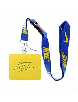 Nike Yellow Faux Leather Business Id Badge Card Holder With (Blue With Yellow) Keychain Lanyard by Lanyard Square