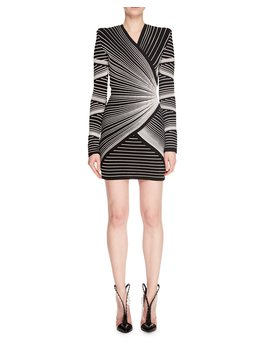 Long Sleeve V Neck Embroidered Optical Effect Mini Cocktail Dress by Balmain