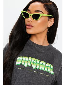 green-plastic-rim-cat-eye-sunglasses by missguided
