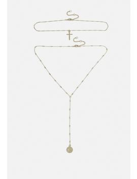 Gold Look Multirow Cross Coin Necklace by Missguided
