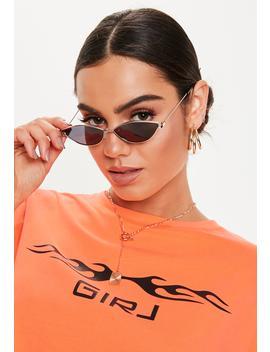 Black Mini Metal Cat Eye Sunglasses by Missguided
