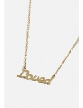 Gold Look Ditsy Loved Necklace by Missguided