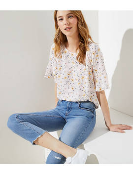 Floral Perforated Lacy Mixed Media Top by Loft