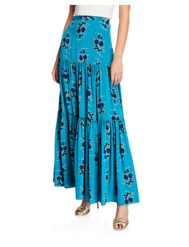 Serence Tiered Floral Silk Maxi Skirt by Veronica Beard