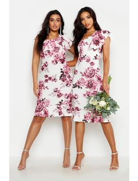 Plus One Shoulder Floral Ruffle Midi Dress by Boohoo