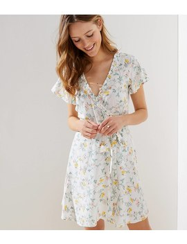 Tossed Flower Flutter Wrap Dress by Loft