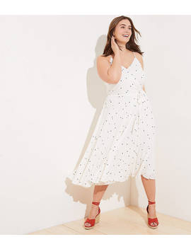 Loft Plus Dotted Pleated Wrap Midi Dress by Loft