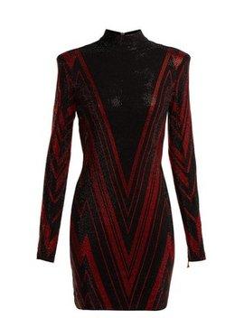 Chevron Stripe Crystal Embellished Mini Dress by Balmain