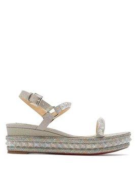 Pyradiams 60 Glitter Wedge Sandals by Christian Louboutin