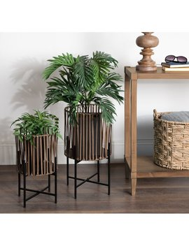 Tunnel Floor 2 Piece Pot Planter Set With Pvc Wicker And Metal Stands by Bungalow Rose