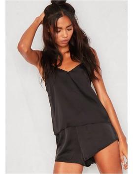 Violet Black Satin Pyjama Set by Missy Empire