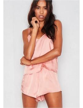Violet Pink Satin Pyjama Set by Missy Empire