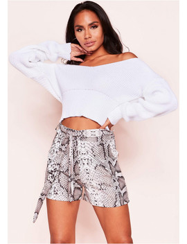 Gina Snake Print Belted Shorts by Missy Empire