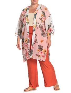Tropical Patterned Kimono (Plus Size) by Planet Gold