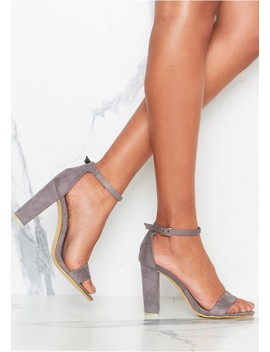 Venisa Grey Suede Ankle Strap Heels by Missy Empire