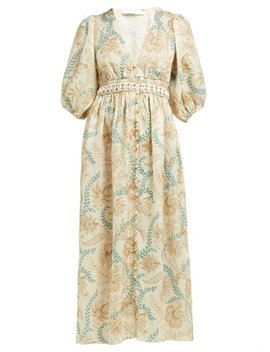 Veneto Floral Print Linen Dress by Zimmermann
