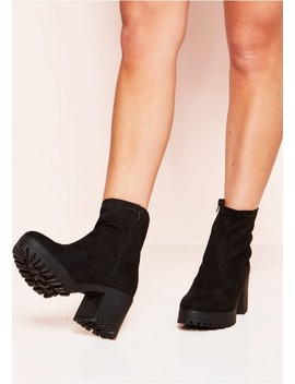 Callie Black Faux Suede Chunky Ankle Boots by Missy Empire