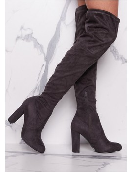 Lolita Grey Suede Thigh High Heeled Boots by Missy Empire