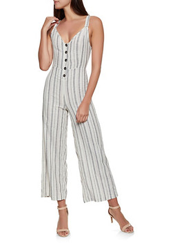 Half Button Striped Linen Jumpsuit by Rainbow
