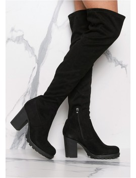 Odette Black Suede Thigh High Heeled Boots by Missy Empire