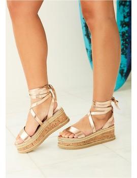 Jolene Rose Gold Tie Up Espadrille Platform Sandals by Missy Empire