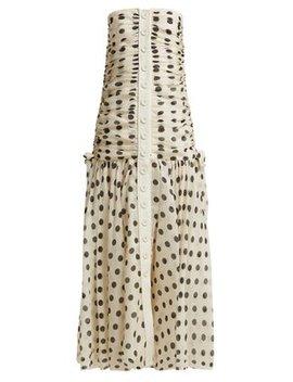 Corsage Ruched Polka Dot Linen Blend Dress by Zimmermann