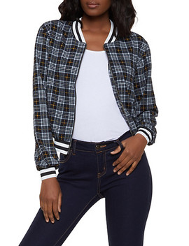 Textured Knit Plaid Bomber Jacket by Rainbow