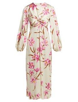 Corsage Orchid Print Silk Blend Midi Dress by Zimmermann