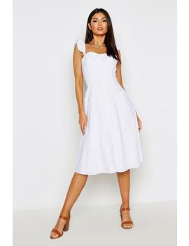 Linen Ruffle Strap Button Midi Skater Dress by Boohoo