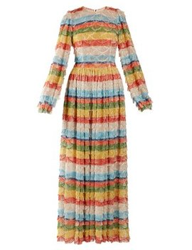 Fringe Trimmed Striped Gown by Dolce & Gabbana