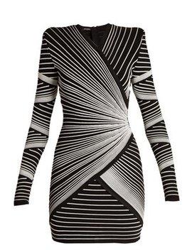 Striped Knit Wrap Style Mini Dress by Balmain