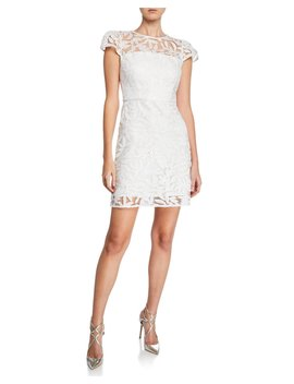 Nickie Embroidered Tulle Cap Sleeve Mini Cocktail Dress by Milly