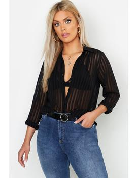 Plus Burn Out Stripe Shirt by Boohoo
