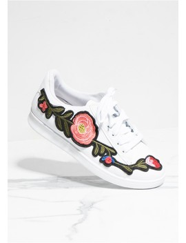 Hadley White Floral Embroidered Trainers by Missy Empire