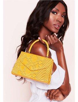 Milana Mustard Croc Print Envelope Bag by Missy Empire