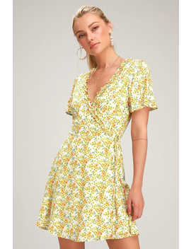 Audacious Audrey Yellow Floral Print Wrap Dress by Lulus