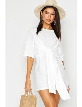 Linen Twist Tie Playsuit by Boohoo