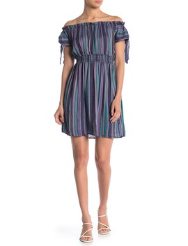 Woven Striped Off The Shoulder Dress by Angie