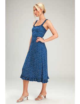 Noemie Navy Blue Floral Print Ruffled Midi Dress by Faithfull The Brand
