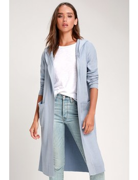 Becket Light Blue Ribbed Hooded Long Cardigan Sweater by Lulus