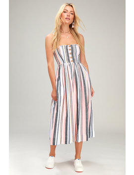 Lilah Multi Striped Pleated Midi Dress by Free People
