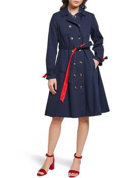 Contrast Belt Trench Coat by Modcloth