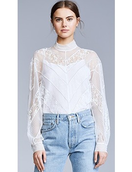 Lace Turtleneck Top by Push Button