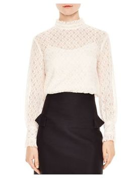 Cacahuete Crosshatched Lace Top by Sandro