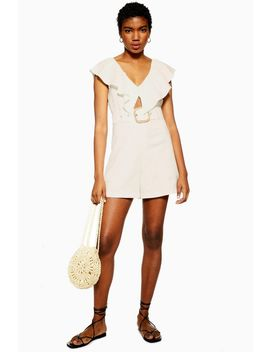 Riviera Ivory Linen Blend Frill Playsuit by Topshop