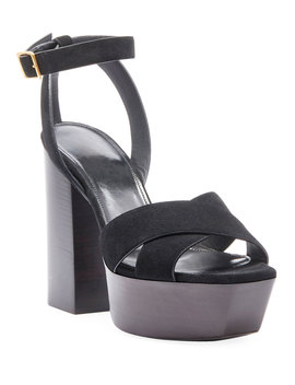 Farrah Suede Platform Sandal by Saint Laurent