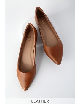 Holly Leather Cognac Pointed Toe Flats by Lulus